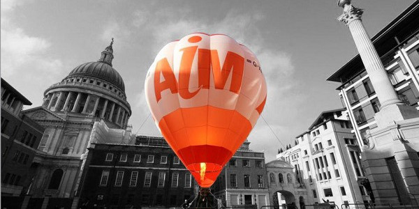 AIM balloon flying through the city of London