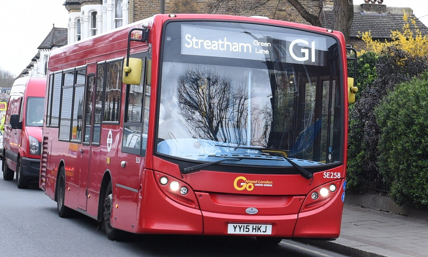 London bus with Go-Ahead logo on the front