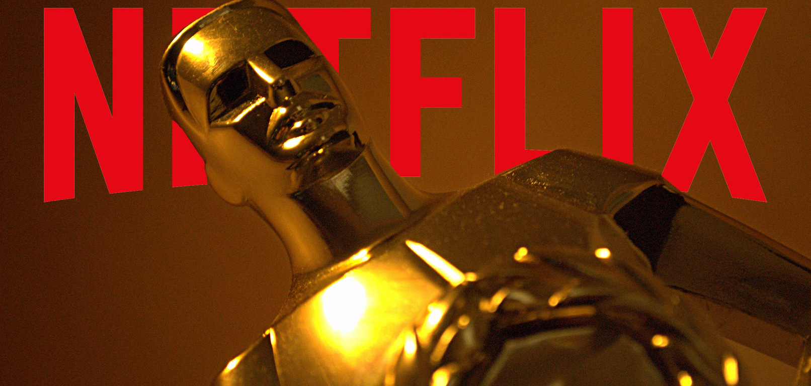 Oscar statue in front of Netflix logo