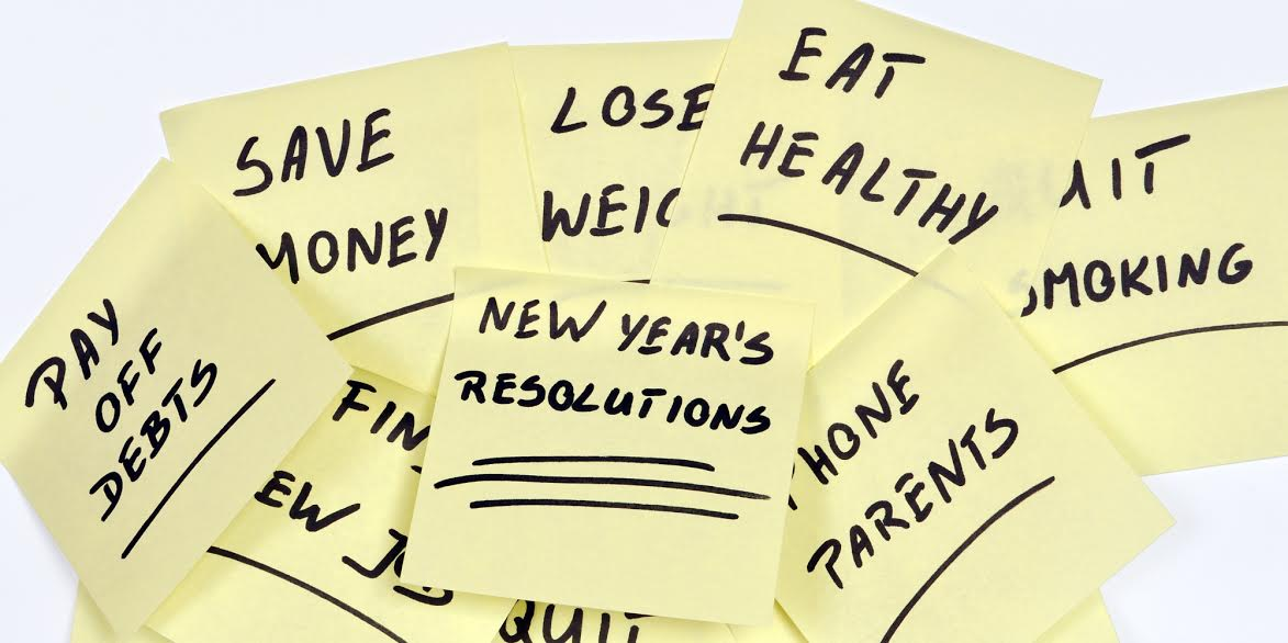 Sticky notes of New Year's resolutions which most people try to make