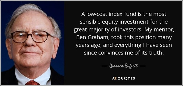 Warren Buffet with low index fund quote