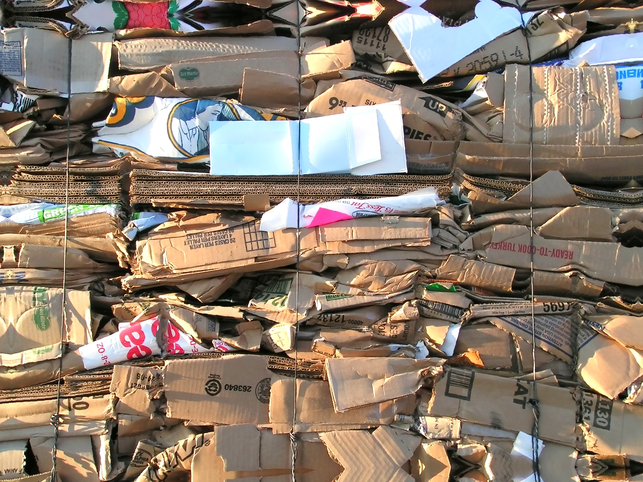 Cardboard boxes in piles for recycling