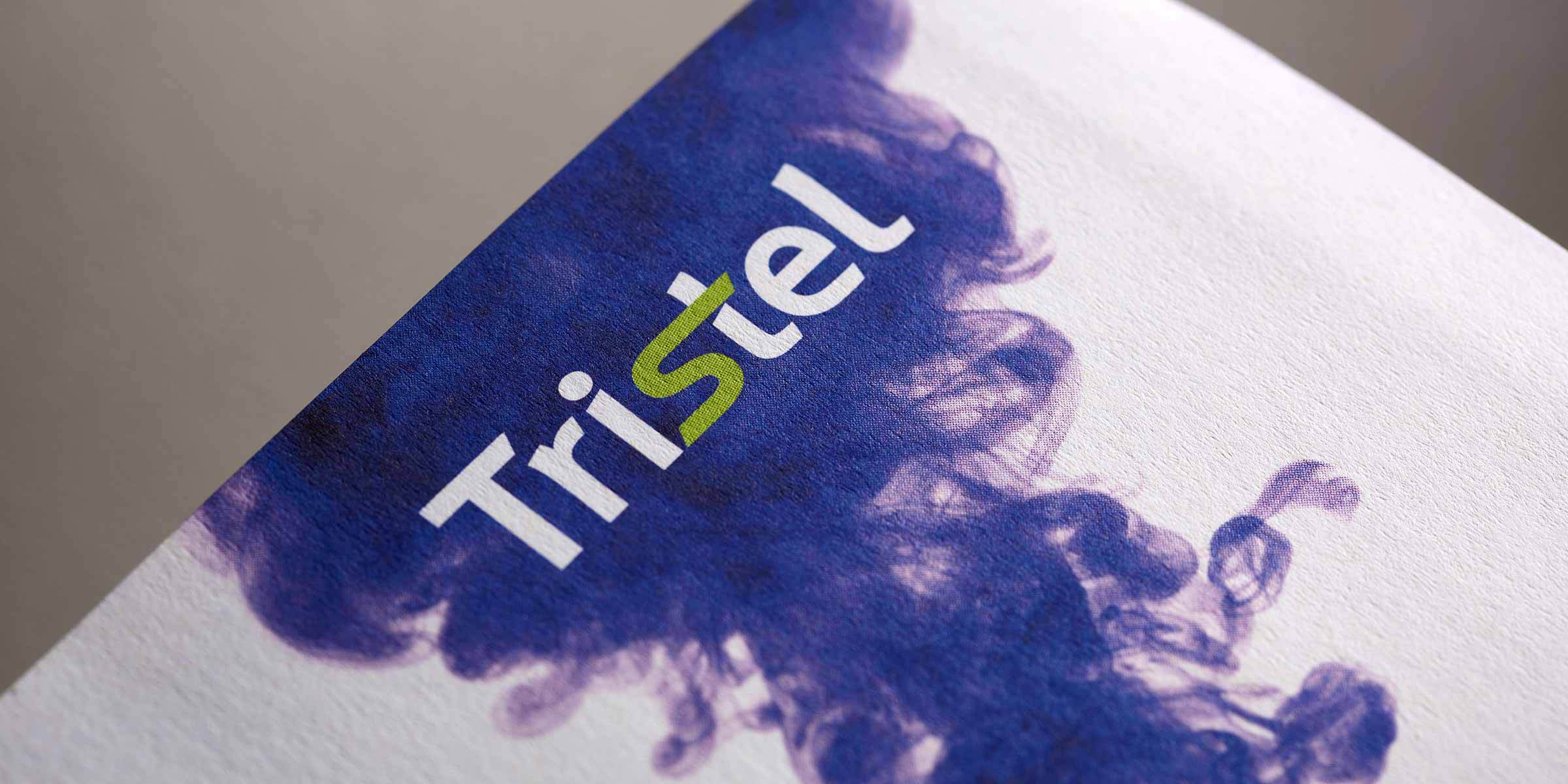 Tristel logo printed on purple medical type background